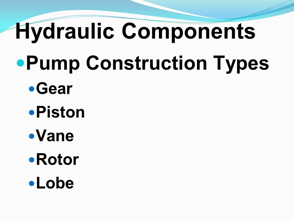 Hydraulic Components Pump Construction Types Gear Piston Vane Rotor Lobe