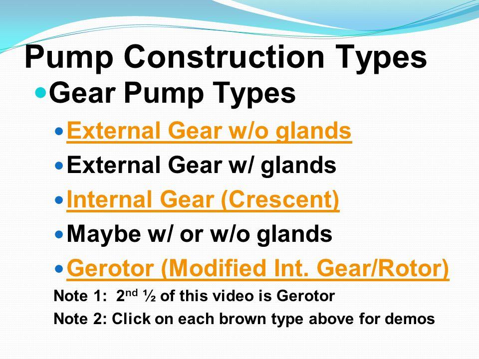 Pump Construction Types Gear Pump Types External Gear w/o glands External Gear w/ glands Internal Gear (Crescent) Maybe w/ or w/o glands Gerotor (Modi