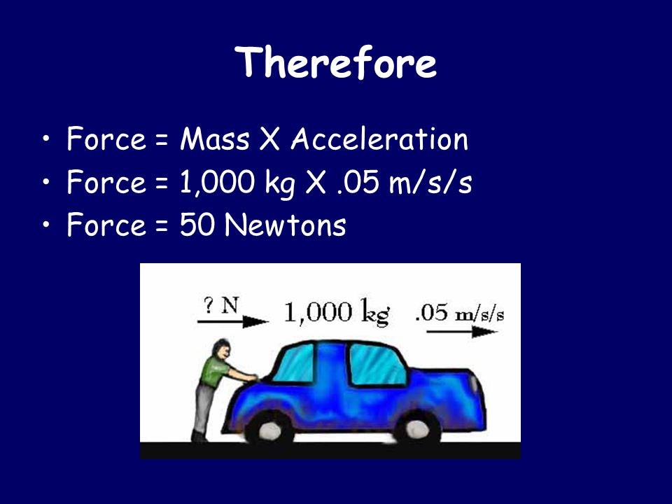 Therefore Force = Mass X Acceleration Force = 1,000 kg X.05 m/s/s Force = 50 Newtons