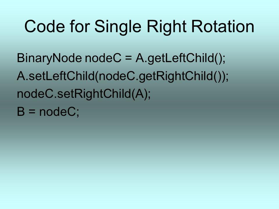 Code for Single Right Rotation BinaryNode nodeC = A.getLeftChild(); A.setLeftChild(nodeC.getRightChild()); nodeC.setRightChild(A); B = nodeC;