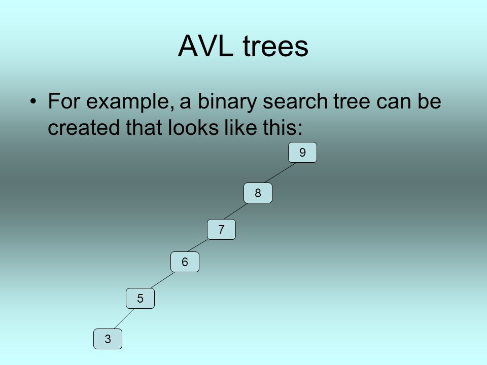 AVL trees An AVL tree containing the same data inserted in the same order looks like this: It is much faster to find the node 3 in this tree than in a regular binary search tree.