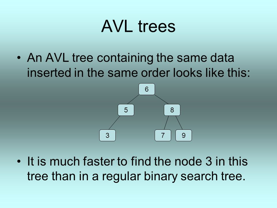 AVL trees An AVL tree containing the same data inserted in the same order looks like this: It is much faster to find the node 3 in this tree than in a