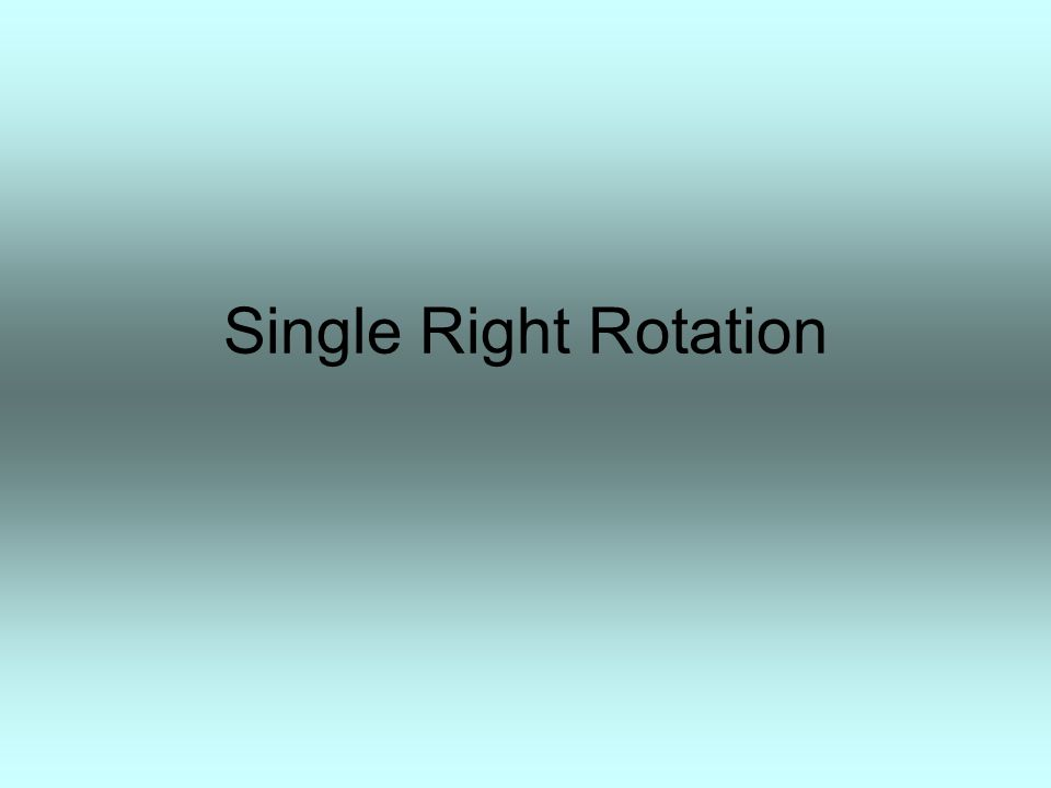 A T3 T4 T1 B T2 Single Right Rotation When T4 was added, A became unbalanced to the left.