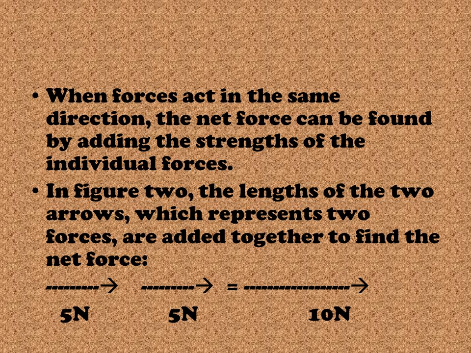 When forces act in the same direction, the net force can be found by adding the strengths of the individual forces.