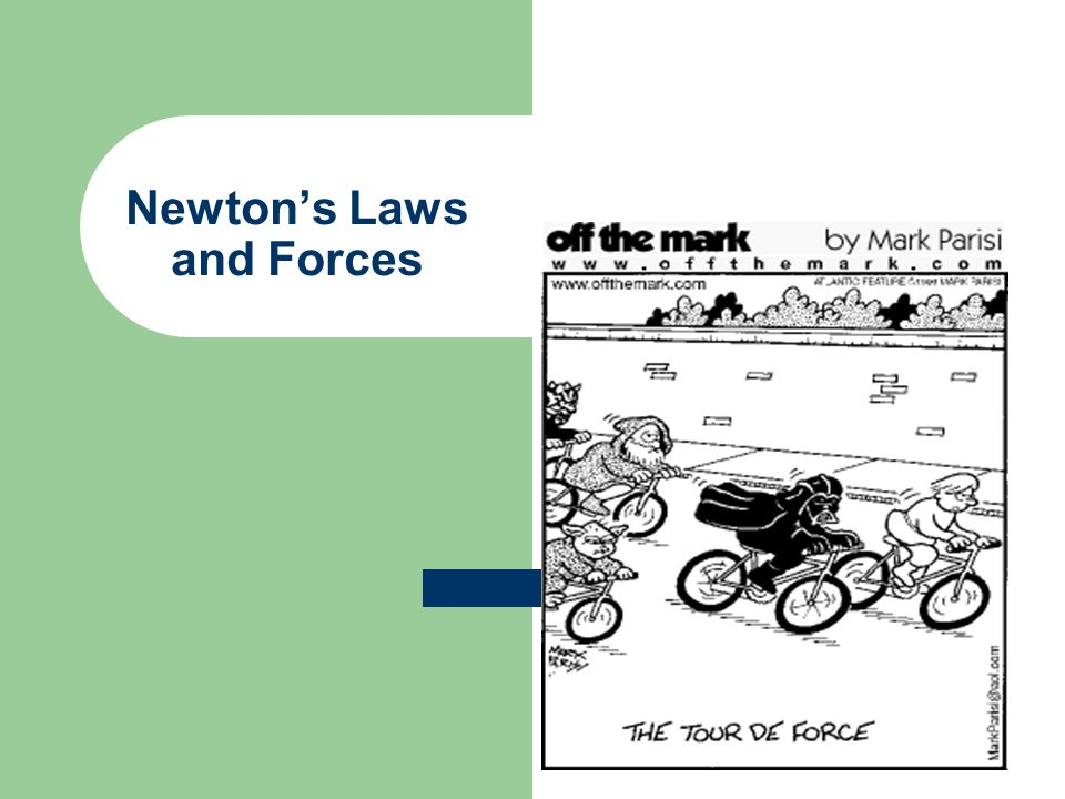Third Law (action- reaction) Newton's Third Law – for every applied force, there is an equal and opposite force.