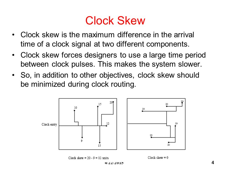 4 4/22/2015 Clock Skew Clock skew is the maximum difference in the arrival time of a clock signal at two different components.