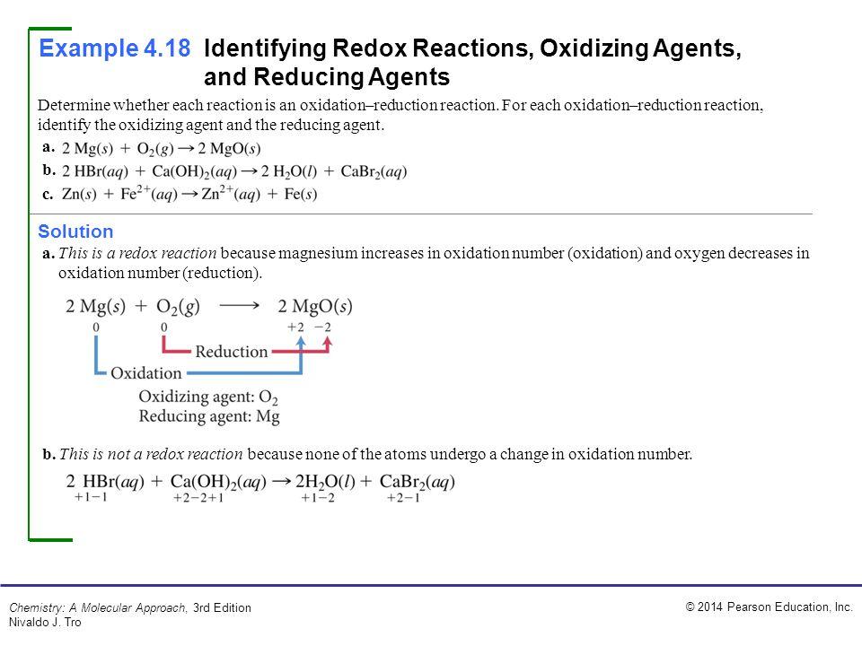 © 2014 Pearson Education, Inc. Chemistry: A Molecular Approach, 3rd Edition Nivaldo J. Tro Determine whether each reaction is an oxidation–reduction r