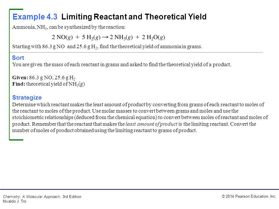 © 2014 Pearson Education, Inc. Chemistry: A Molecular Approach, 3rd Edition Nivaldo J. Tro Example 4.3Limiting Reactant and Theoretical Yield Sort Amm