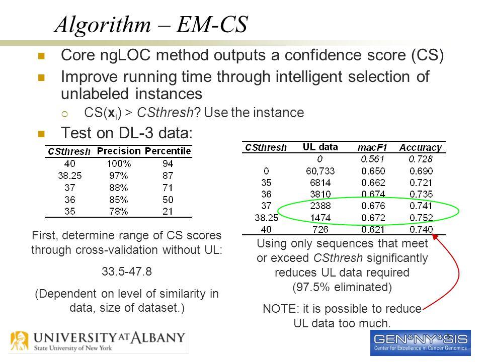 5 Algorithm – EM-CS Core ngLOC method outputs a confidence score (CS) Improve running time through intelligent selection of unlabeled instances  CS(x i ) > CSthresh.