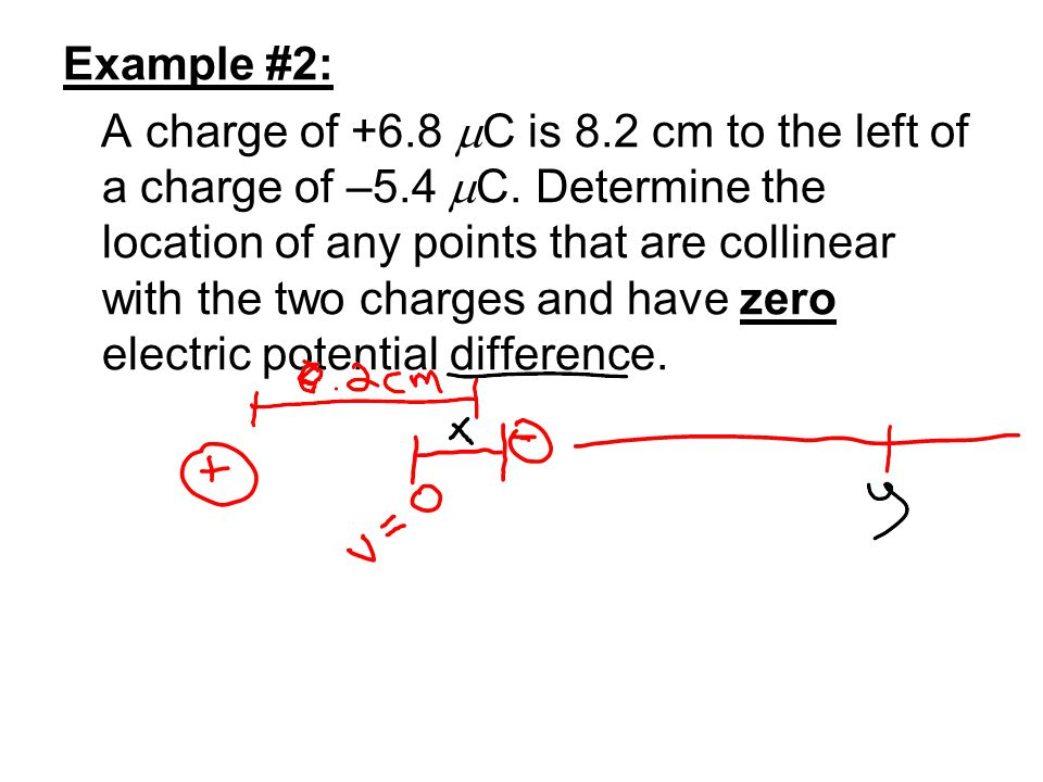 Example #2: A charge of +6.8  C is 8.2 cm to the left of a charge of –5.4  C. Determine the location of any points that are collinear with the two c