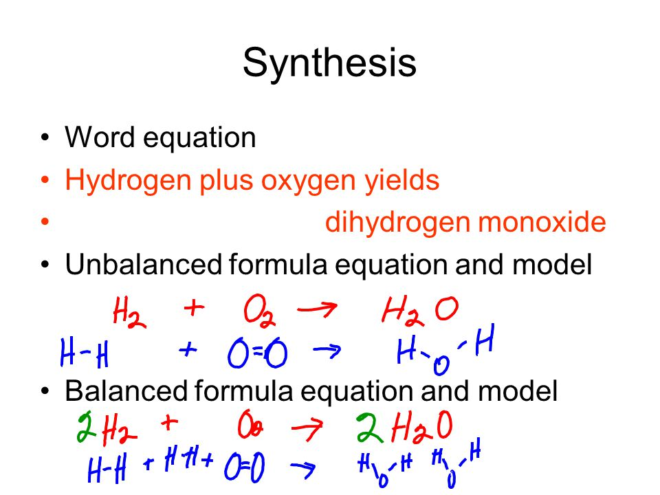 Synthesis Word equation Hydrogen plus oxygen yields dihydrogen monoxide Unbalanced formula equation and model Balanced formula equation and model