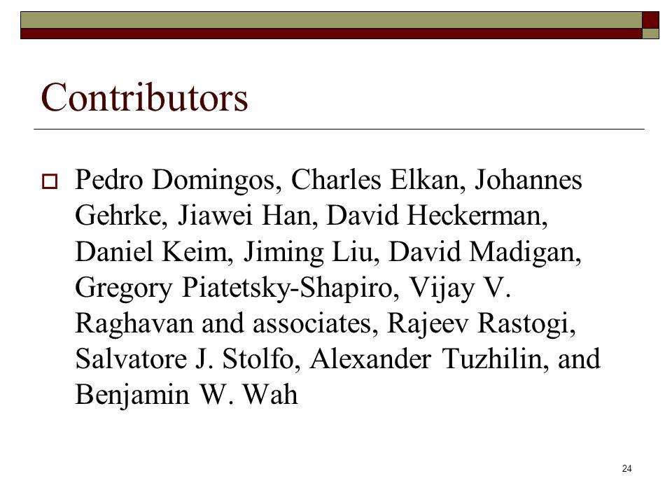 24 Contributors  Pedro Domingos, Charles Elkan, Johannes Gehrke, Jiawei Han, David Heckerman, Daniel Keim, Jiming Liu, David Madigan, Gregory Piatets