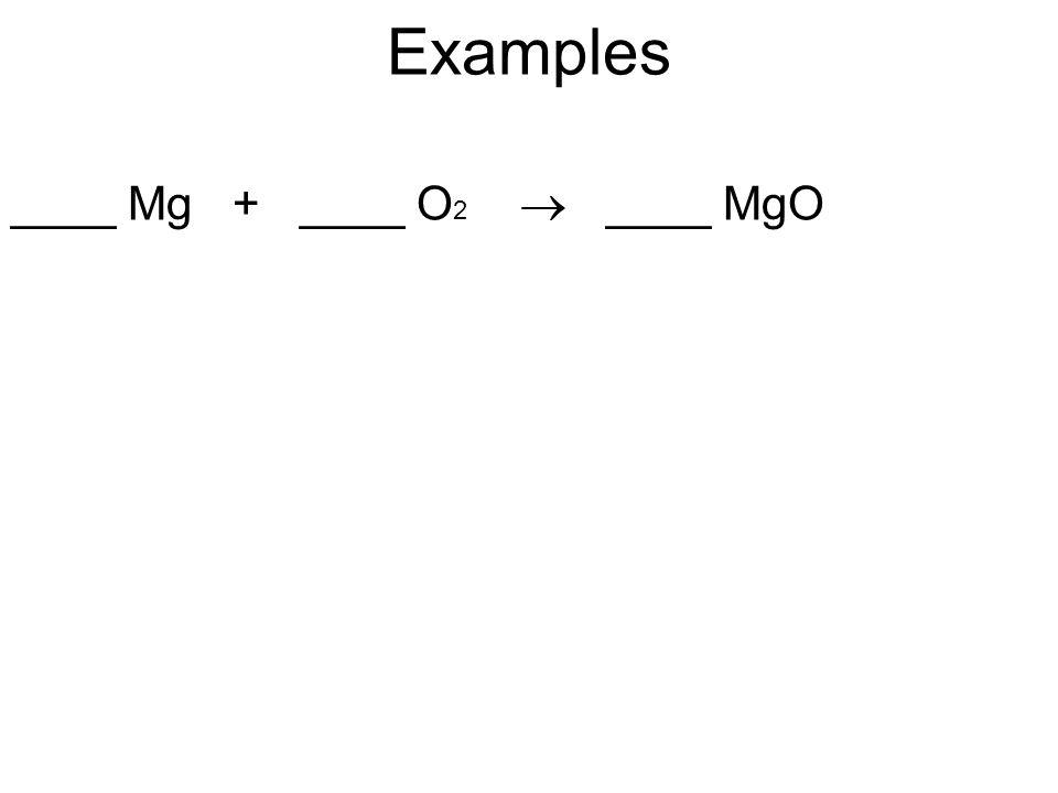 Examples ____ Mg + ____ O 2  ____ MgO