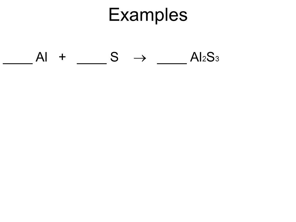 Examples ____ Al + ____ S  ____ Al 2 S 3