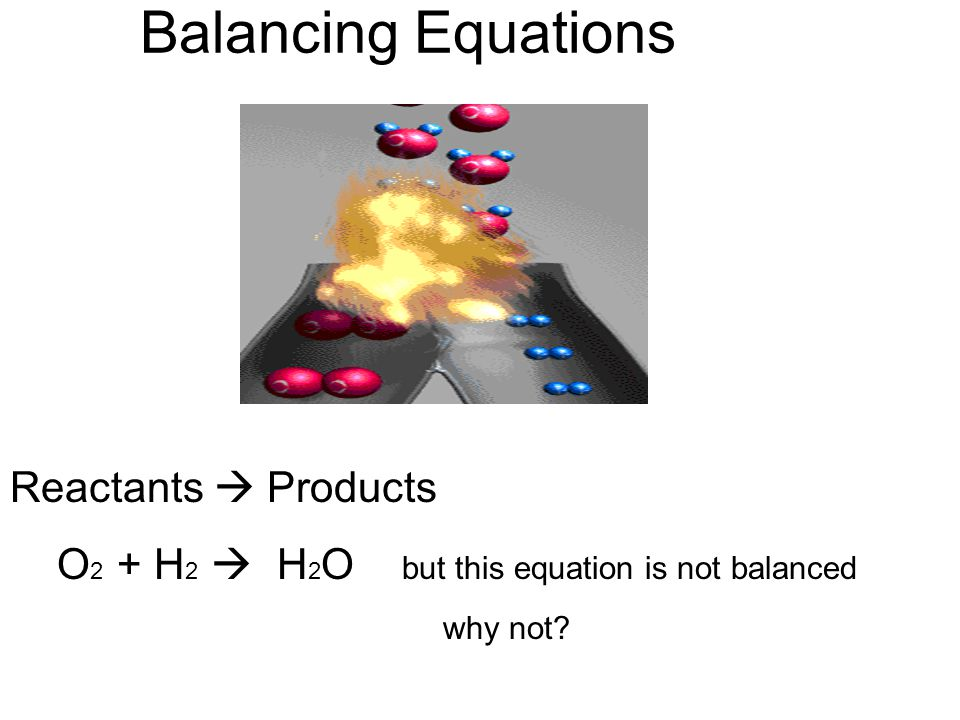 Balancing Equations Conservation of Mass- Mass and/or Atoms are not Created or Destroyed during a chemical reaction.