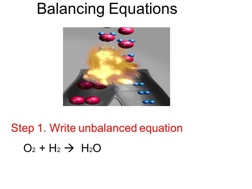 Balancing Equations Step 2. Count # of atoms on each side O 2 + H 2  H 2 O O = 2 0 = 1 H = 2
