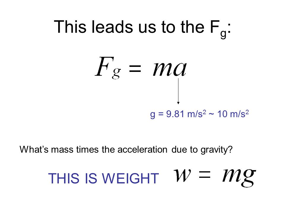 This leads us to the F g : g = 9.81 m/s 2 ~ 10 m/s 2 What's mass times the acceleration due to gravity? THIS IS WEIGHT