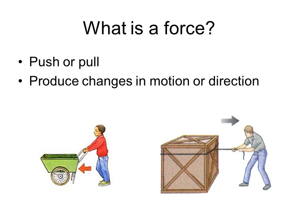 What is a force? Push or pull Produce changes in motion or direction
