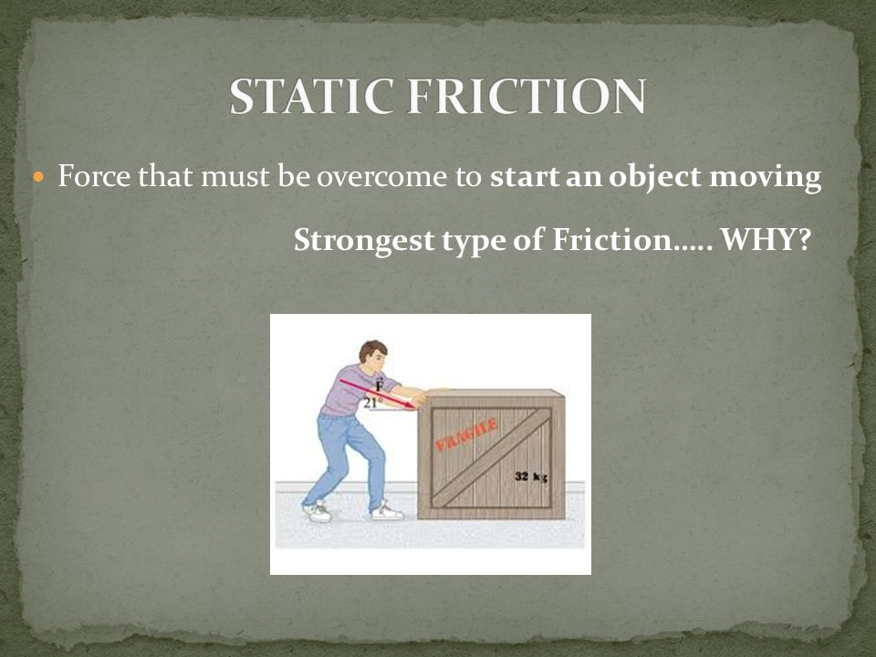 1. Static 2. Sliding 3. Rolling 4. Fluid 5. Air Resistance* 5 Types of FRICTION