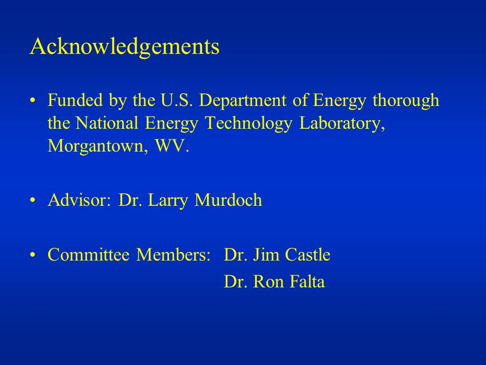 Acknowledgements Funded by the U.S.