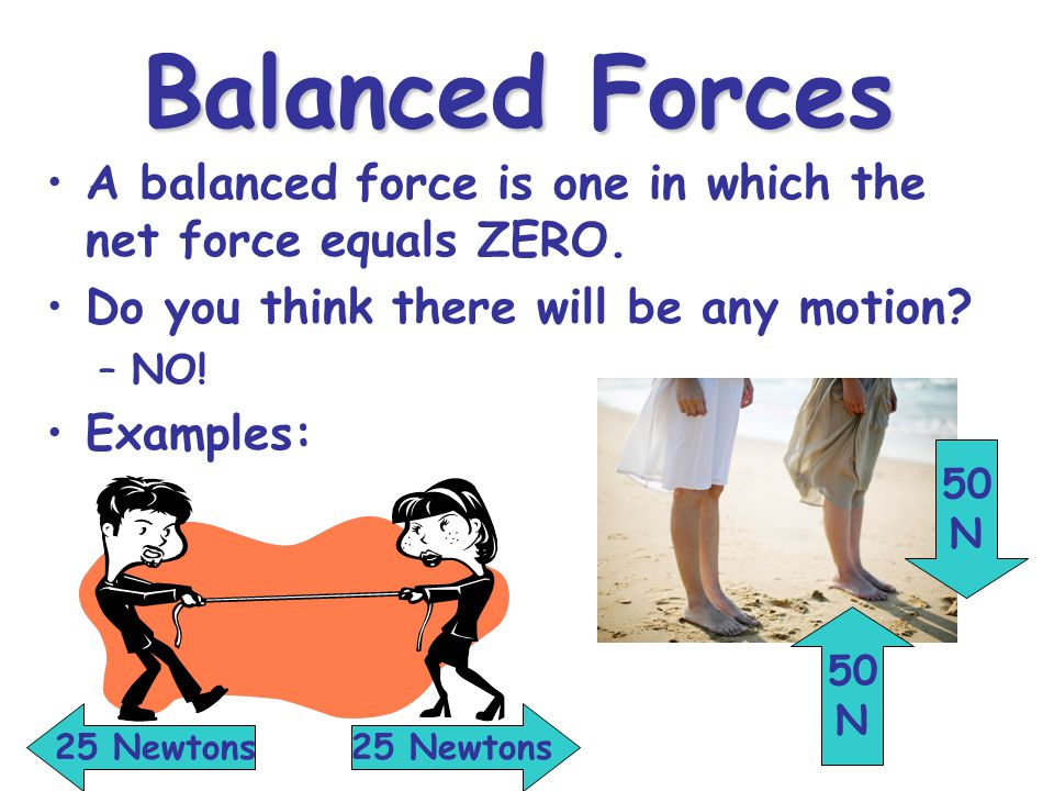 Balanced Forces A balanced force is one in which the net force equals ZERO.
