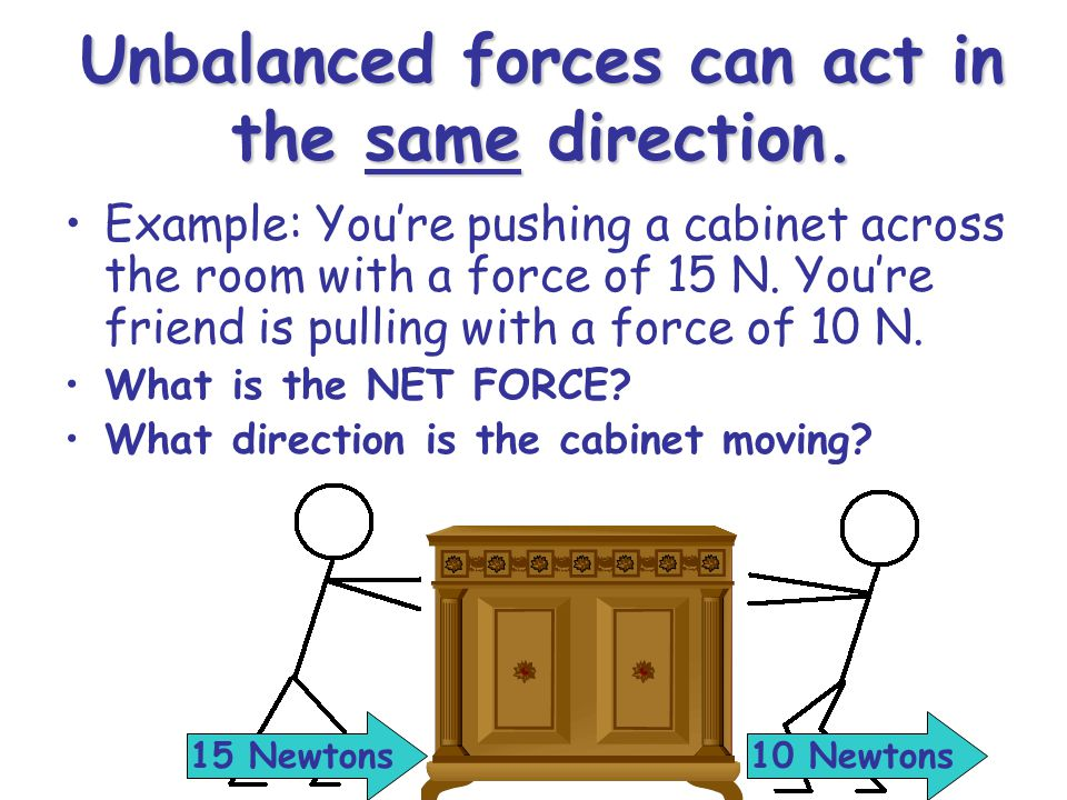 Unbalanced forces can act in the same direction.
