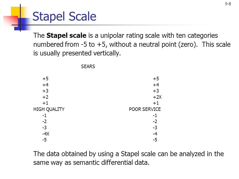 9-8 Stapel Scale The Stapel scale is a unipolar rating scale with ten categories numbered from -5 to +5, without a neutral point (zero).
