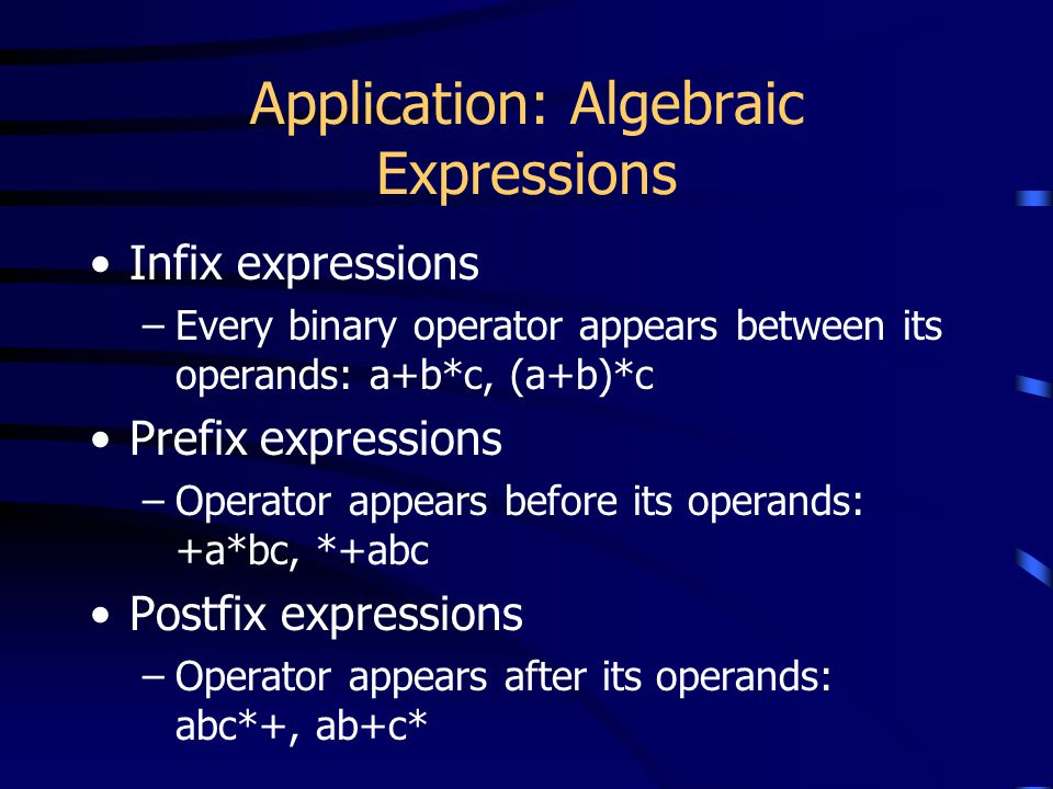 Application: Algebraic Expressions Infix expressions –Every binary operator appears between its operands: a+b*c, (a+b)*c Prefix expressions –Operator
