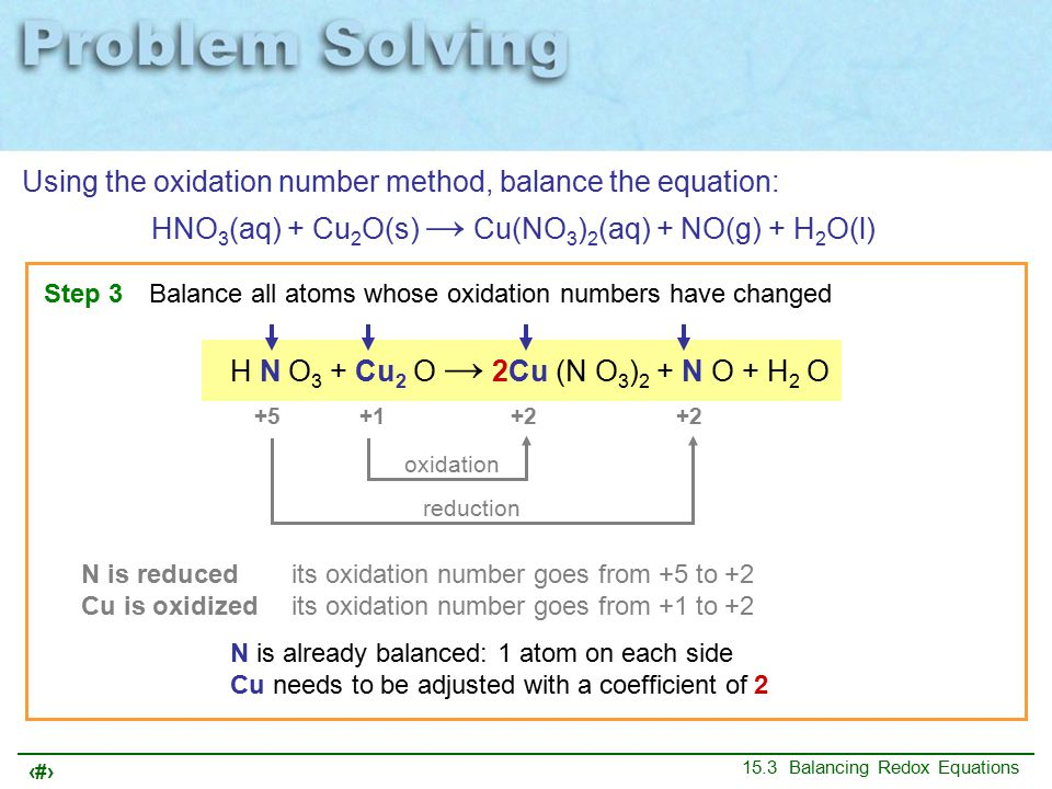 10 15.3 Balancing Redox Equations Using the oxidation number method, balance the equation: HNO 3 (aq) + Cu 2 O(s) → Cu(NO 3 ) 2 (aq) + NO(g) + H 2 O(l) Step 3Balance all atoms whose oxidation numbers have changed H N O 3 + Cu 2 O → 2Cu (N O 3 ) 2 + N O + H 2 O oxidation reduction +1 +5 –2 +1 –2 +2 +5 –2 +2 –2 +1 –2 N is already balanced: 1 atom on each side Cu needs to be adjusted with a coefficient of 2 N is reducedits oxidation number goes from +5 to +2 Cu is oxidized its oxidation number goes from +1 to +2