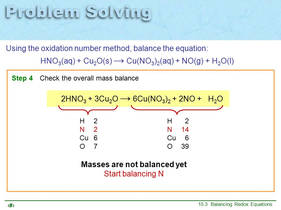 15 15.3 Balancing Redox Equations Using the oxidation number method, balance the equation: HNO 3 (aq) + Cu 2 O(s) → Cu(NO 3 ) 2 (aq) + NO(g) + H 2 O(l) Step 4Check the overall mass balance 14HNO 3 + 3Cu 2 O → 6Cu(NO 3 ) 2 + 2NO + 7H 2 O H14 N14 Cu 6 O45 H 2 N14 Cu 6 O39 Masses are not balanced yet Now balance O and H