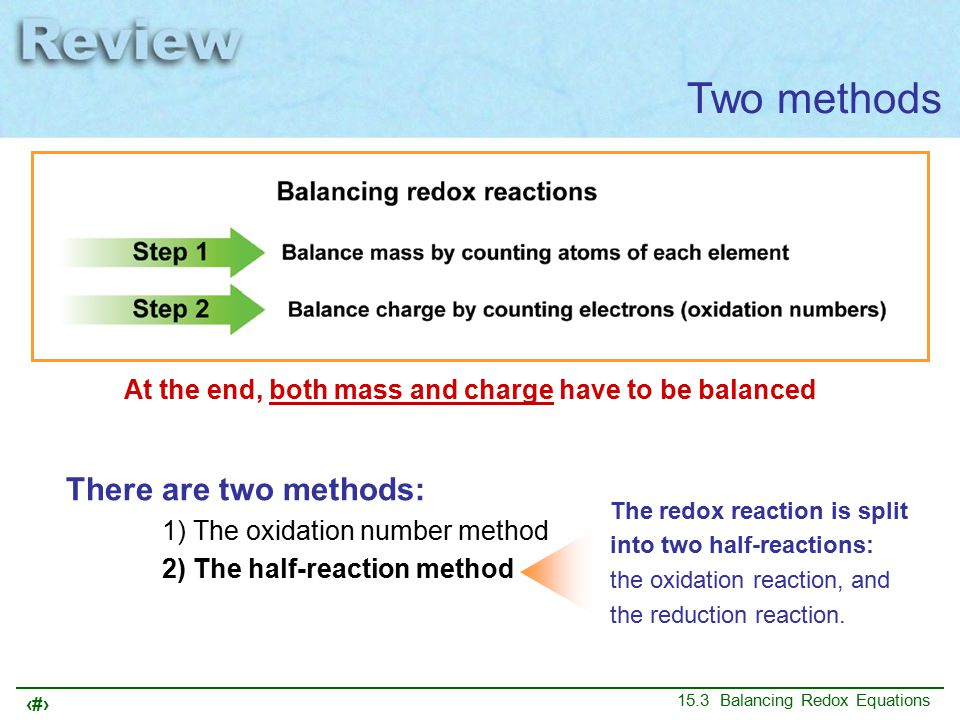 18 15.3 Balancing Redox Equations Two methods At the end, both mass and charge have to be balanced There are two methods: 1) The oxidation number method 2) The half-reaction method The redox reaction is split into two half-reactions: the oxidation reaction, and the reduction reaction.