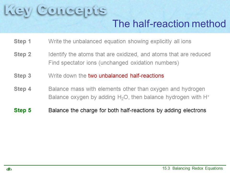 24 15.3 Balancing Redox Equations Step 1Write the unbalanced equation showing explicitly all ions Step 2Identify the atoms that are oxidized, and atoms that are reduced Find spectator ions (unchanged oxidation numbers) Step 3Write down the two unbalanced half-reactions Step 4Balance mass with elements other than oxygen and hydrogen Balance oxygen by adding H 2 O, then balance hydrogen with H + Step 5Balance the charge for both half-reactions by adding electrons Step 6Adjust coefficients to balance the number of electrons transferred The half-reaction method