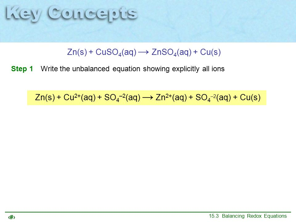 27 15.3 Balancing Redox Equations Zn(s) + CuSO 4 (aq) → ZnSO 4 (aq) + Cu(s) Step 1Write the unbalanced equation showing explicitly all ions Zn(s) + Cu 2+ (aq) + SO 4 –2 (aq) → Zn 2+ (aq) + SO 4 –2 (aq) + Cu(s)