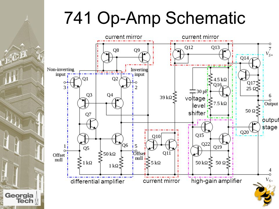 741 Op-Amp Schematic differential amplifier high-gain amplifier voltage level shifter output stage current mirror