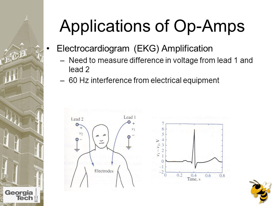 Applications of Op-Amps Electrocardiogram (EKG) Amplification –Need to measure difference in voltage from lead 1 and lead 2 –60 Hz interference from electrical equipment