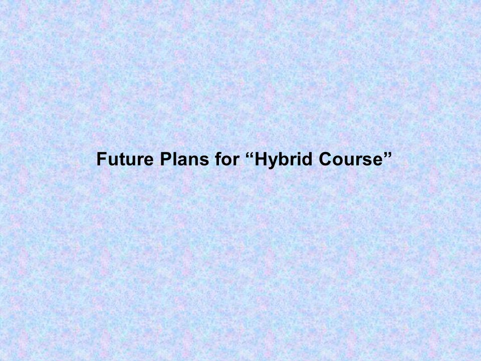 Future Plans for Hybrid Course