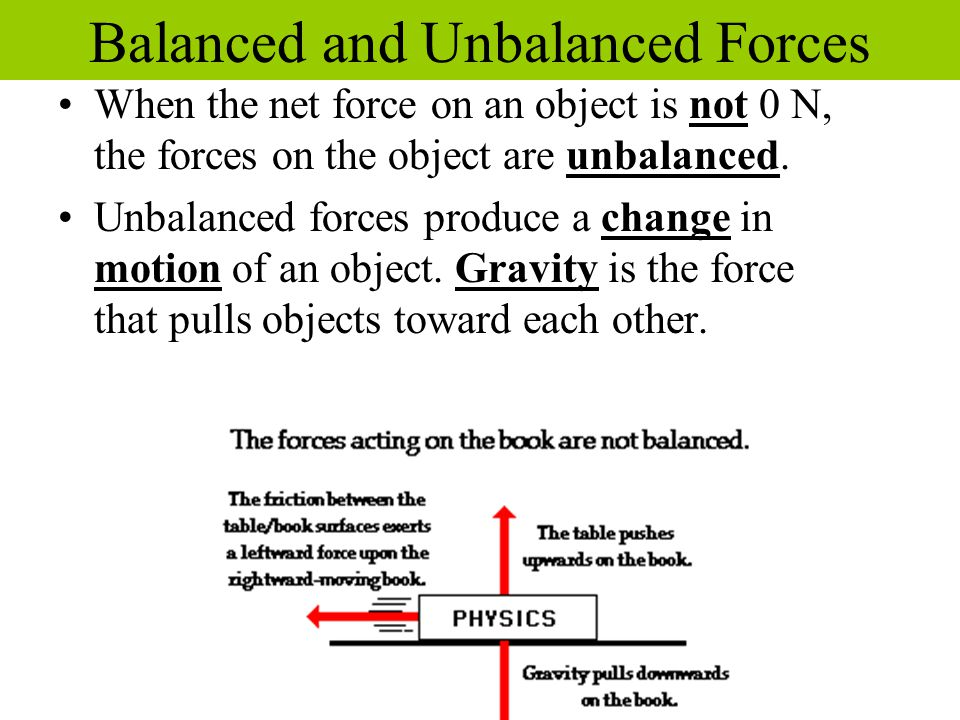 When the net force on an object is not 0 N, the forces on the object are unbalanced. Unbalanced forces produce a change in motion of an object. Gravit