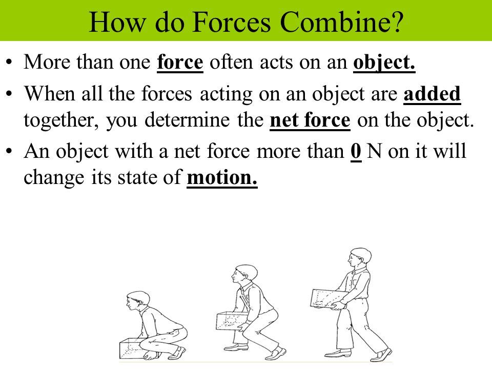 Forces in the Same Direction When forces are applied in the same direction, they are added to determine the size of the net force.