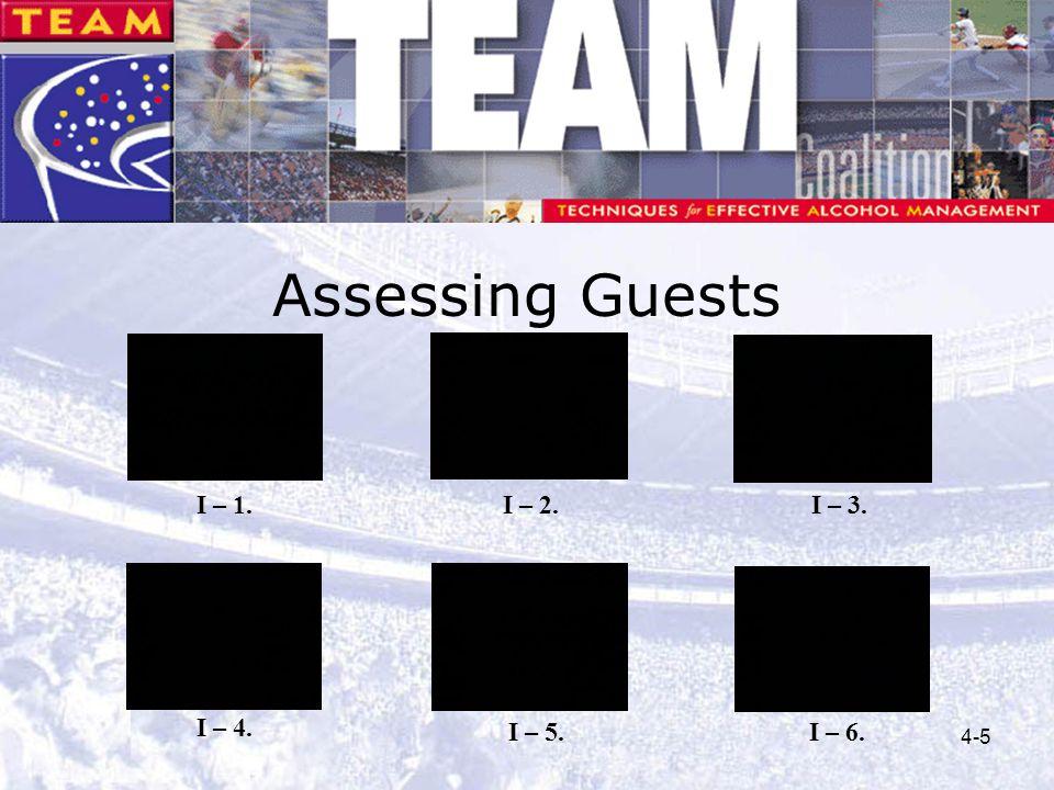 4-5 Assessing Guests I – 1. I – 4. I – 2.I – 3. I – 5.I – 6.