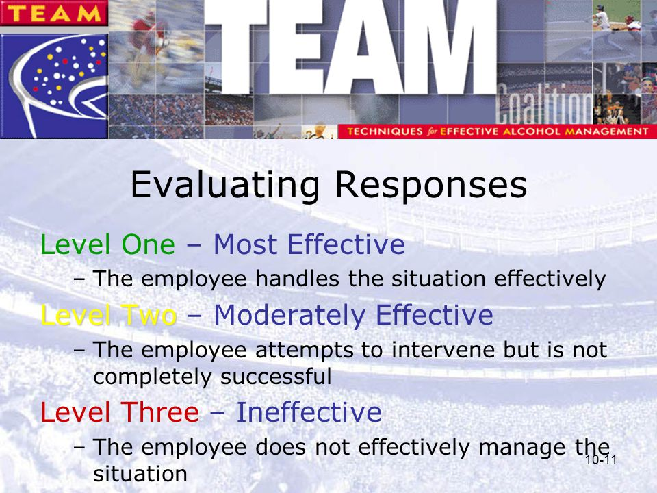 10-11 Evaluating Responses Level One – Most Effective –The employee handles the situation effectively Level Two Level Two – Moderately Effective –The
