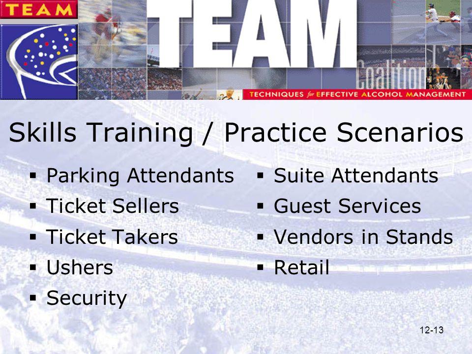 12-13 Skills Training / Practice Scenarios  Parking Attendants  Ticket Sellers  Ticket Takers  Ushers  Security  Suite Attendants  Guest Servic