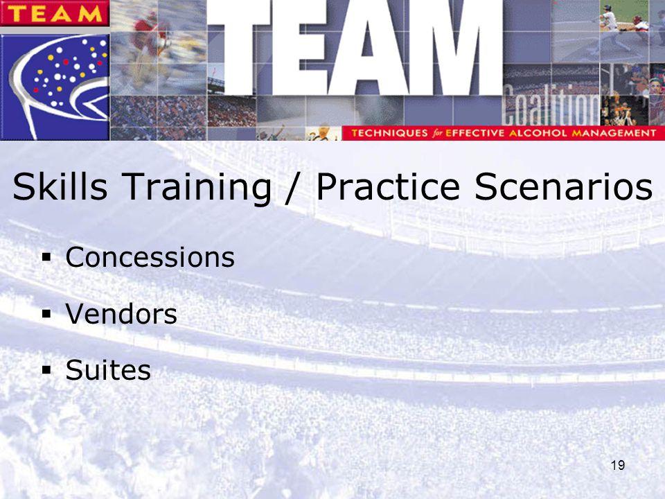 19 Skills Training / Practice Scenarios  Concessions  Vendors  Suites