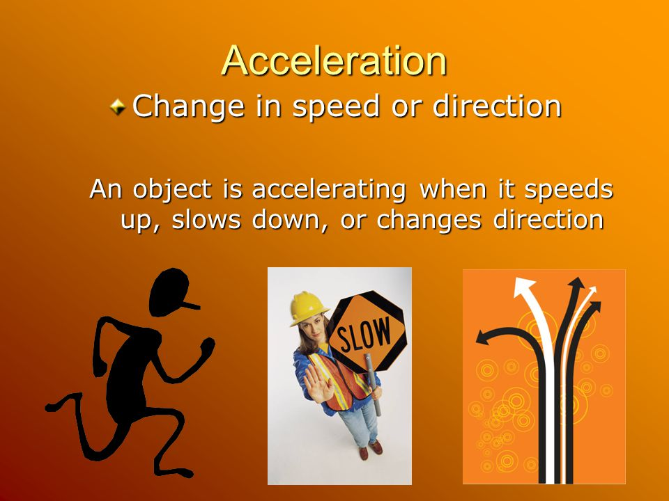 Acceleration Change in speed or direction An object is accelerating when it speeds up, slows down, or changes direction