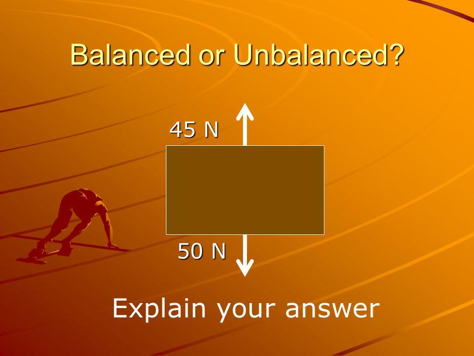Balanced or Unbalanced? Explain your answer 45 N 45 N 50 N 50 N