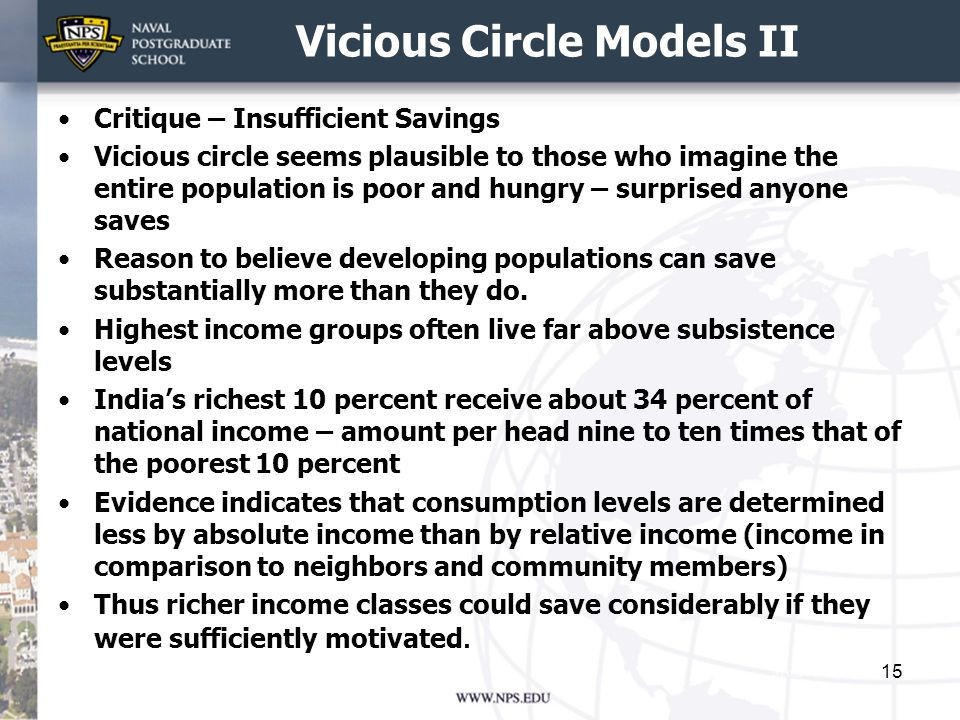 Vicious Circle Models II Critique – Insufficient Savings Vicious circle seems plausible to those who imagine the entire population is poor and hungry – surprised anyone saves Reason to believe developing populations can save substantially more than they do.