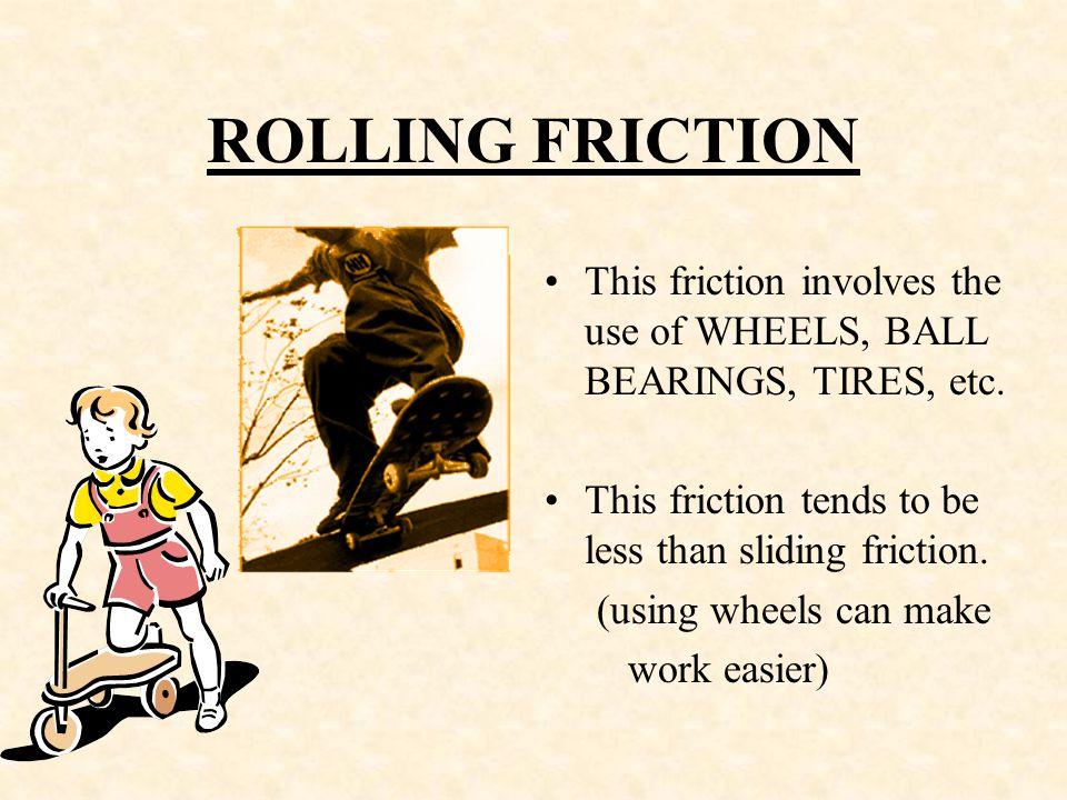 SLIDING FRICTION Occurs when something or someone SLIDES across a surface.