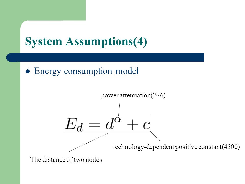 System Assumptions(4) Energy consumption model The distance of two nodes power attenuation(2~6) technology-dependent positive constant(4500)