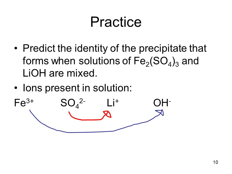 10 Practice Predict the identity of the precipitate that forms when solutions of Fe 2 (SO 4 ) 3 and LiOH are mixed.