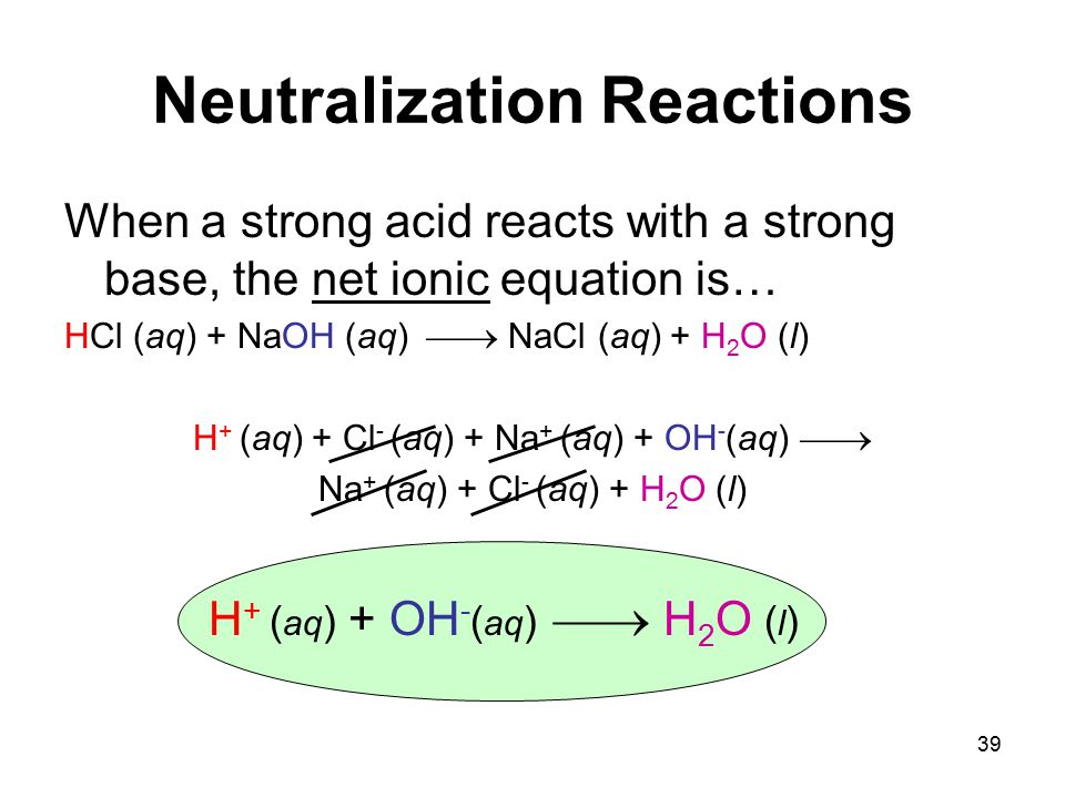 39 Neutralization Reactions When a strong acid reacts with a strong base, the net ionic equation is… HCl (aq) + NaOH (aq)  NaCl (aq) + H 2 O (l) H + (aq) + Cl - (aq) + Na + (aq) + OH - (aq)  Na + (aq) + Cl - (aq) + H 2 O (l) H + ( aq ) + OH - ( aq )  H 2 O ( l )
