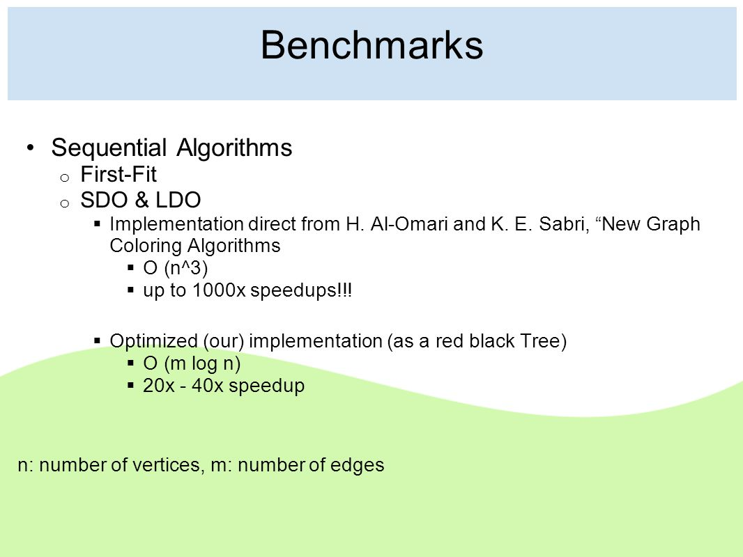 Benchmarks Sequential Algorithms o First-Fit o SDO & LDO  Implementation direct from H.